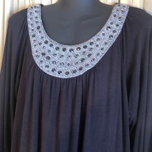 Alfani Top Medium Black & Silver
